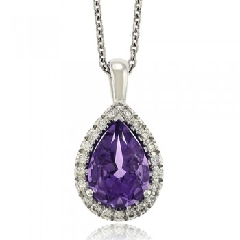 18ct White Gold Amethyst Diamond Halo Pendant