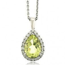 18ct White Gold Lime Quartz Diamond Halo Pendant Chain