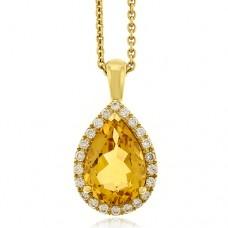 18ct Gold Citrine & Diamond Pendant Chain