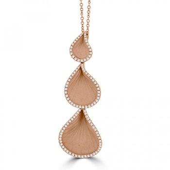 18ct Rose Gold Three-Tier Leaf Diamond Cammilli Pendant