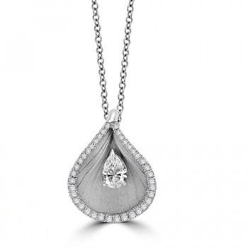 18ct White Gold Pear cut Diamond Cammilli Pendant