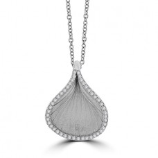 18ct White Gold Diamond Cammilli Leaf Pendant