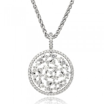18ct White Gold Diamond Hooped Scatter Cluster Pendant