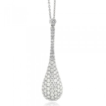 18ct White Gold Grain set Diamond Pear shaped Pendant Chain