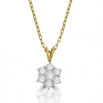 18ct Gold .80ct Diamond Flower Cluster Pendant