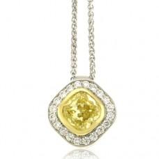 18ct White Gold Cushion Yellow Diamond Halo Pendant