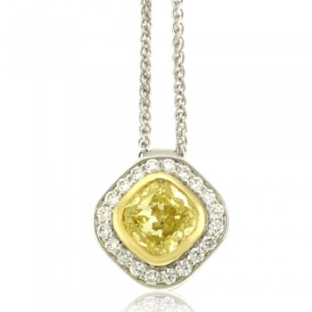 18ct White Gold Cushion Yellow Diamond Halo Pendant