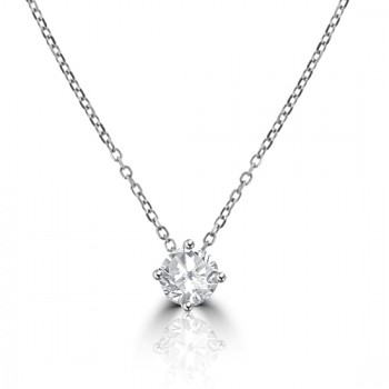 18ct White Gold .56ct Diamond Solitaire Pendant Chain