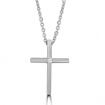 18ct White Gold Diamond Cross Pendant Chain
