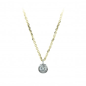18ct Gold Solitaire Diamond Bertani Pendant Chain