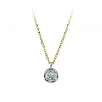 18ct Gold Solitaire Diamond Bertani Pendant Chain