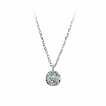 18ct White Gold Solitaire Diamond Bertani Pendant Chain