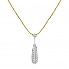 18ct Gold Pave Diamond Drop Pendant