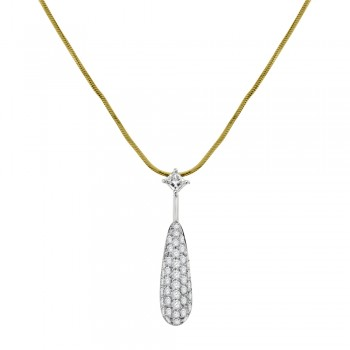 18ct Gold Pave Diamond Drop Pendant