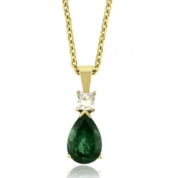 18ct Gold Pear cut Emerald & Diamond Pendant