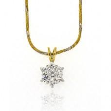 18ct Gold Diamond Flower Cluster Pendant