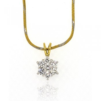 18ct Gold Diamond Flower Cluster Pendant