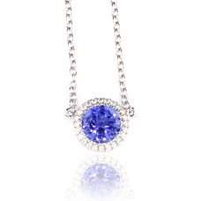 18ct White Gold Tanzanite & Diamond Halo Pendant Chain