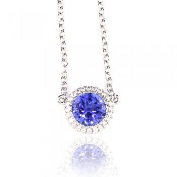 18ct White Gold Tanzanite & Diamond Halo Pendant Chain