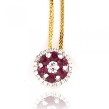 18ct Gold Ruby & Diamond Cluster Pendant Chain