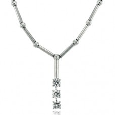 18ct White Gold Diamond Trilogy Pendant Chain