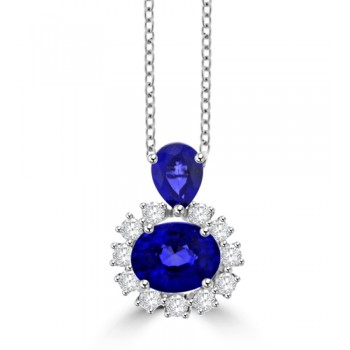 18ct White Gold Pear & Oval Sapphire and Diamond Cluster Pendant