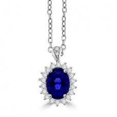 18ct White Gold oval 1.65ct Sapphire & Diamond Cluster Pendant