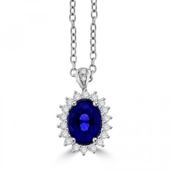 18ct White Gold oval 1.65ct Sapphire & Diamond Cluster Pendant