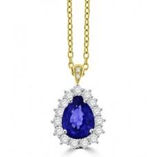 18ct Gold Pear Sapphire & Diamond Cluster Pendant