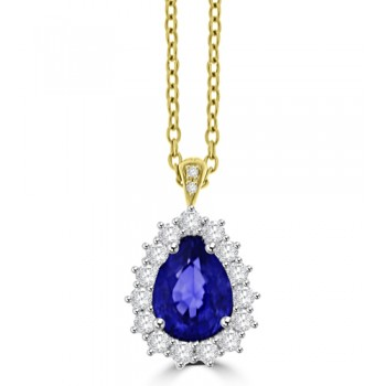 18ct Gold Pear Sapphire & Diamond Cluster Pendant