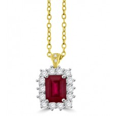 18ct Gold Emerald cut Ruby & Diamond Cluster Pendant Chain
