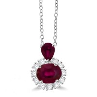 18ct White Gold Pear & Oval Ruby and Diamond Cluster Pendant