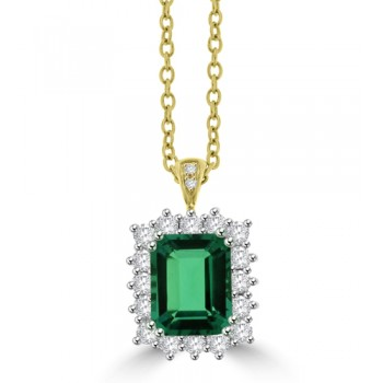 18ct Gold Emerald cut Emerald & Diamond Cluster Pendant