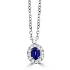 18ct White Gold oval Sapphire & Diamond Halo Pendant Chain