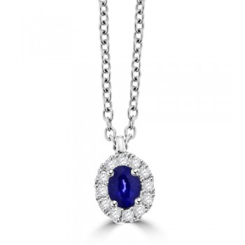 18ct White Gold oval Sapphire & Diamond Halo Pendant Chain