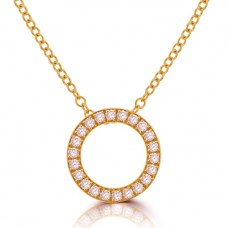 18ct Rose Golld Diamond Hoop Pendant