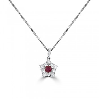 18ct White Gold Ruby & Diamond Star Pendant