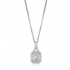 18ct White Gold Phoenix cut Diamond Halo Pendant Chain