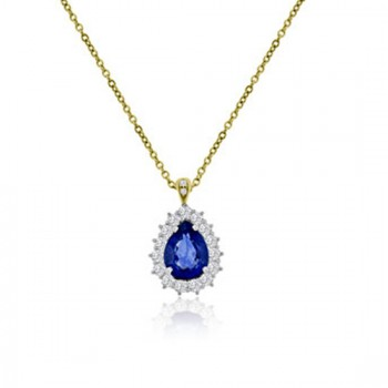 18ct Gold Pear cut Sapphire Diamond Pendant Chain