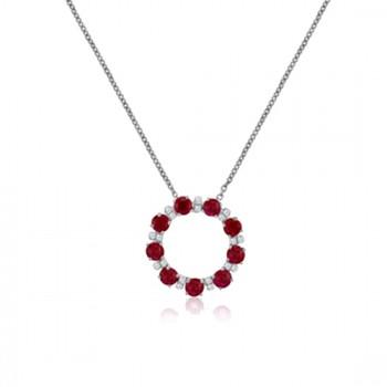 9ct White Gold Ruby & Diamond Circle of Life 17