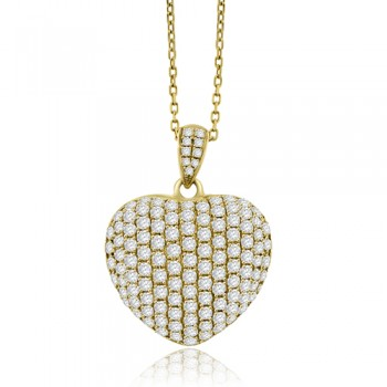 18ct Gold Pave set Diamond Heart Pendant