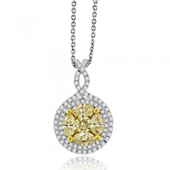 18ct White Gold Yellow Diamond Halo Cluster Pendant