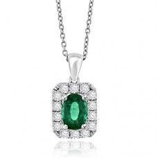 18ct White Gold Emerald & Diamond Halo Pendant Chain