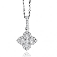 18ct White Gold Diamond Clover Halo Pendant