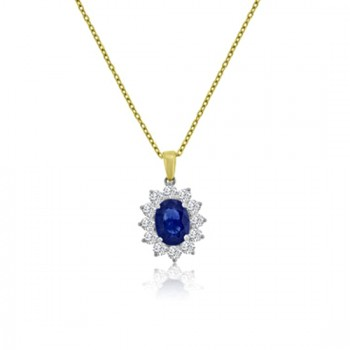 18ct Gold Oval Sapphire Diamond Cluster 16