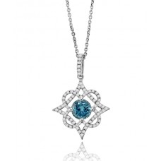 18ct White Gold Aquamarine & Diamond filigree Pendant