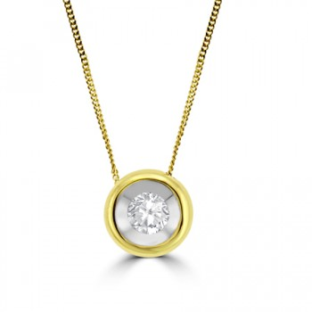 18ct Gold .20ct Diamond Full Moon Pendant