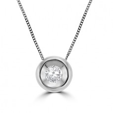 18ct White Gold .20ct Diamond Full Moon Pendant