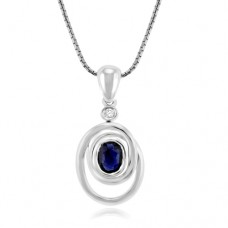 9ct White Gold Sapphire & Diamond Abstract Pendant