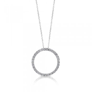 18ct White Gold Diamond Circle of Life Pendant Chain